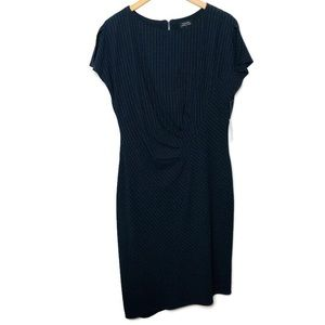 NWT Tahari striped black white ruched zip dress 14